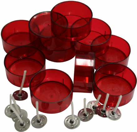 Tealight Cup/ Mould - Red Polycarbonate 4 hour Cup with Paraffin Wax Tealight Wicks